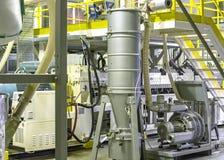 Fabbrica l'interno Interno del fabbricato industriale Pianta per la produzione del film plastico Fotografie Stock Libere da Diritti