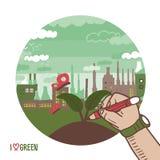 Fabbrica nei concetti di verde della città Fotografie Stock Libere da Diritti
