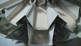 Fabbrica per l'imballaggio dei cereali e di altri prodotti alimentari Riso là d'imballaggio stock footage