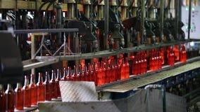 Fabbrica per la produzione delle bottiglie, pianta di vetro stock footage