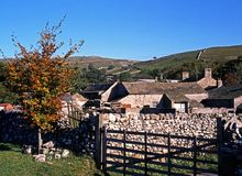 Fabbricati agricoli, Malham, Yorkshire. Fotografie Stock
