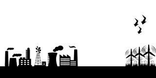 Fabbricati industriali con le turbine di vento Immagini Stock