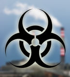 Fabbricato industriale con il simbolo di rischio biologico illustrazione vettoriale