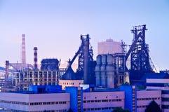 Fabbricato industriale dell'acciaieria cinese alla notte Fotografia Stock Libera da Diritti