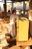 Fabbricazione degli strati di carta di bambù Immagini Stock Libere da Diritti