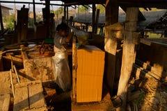 Fabbricazione degli strati di carta di bambù Immagini Stock
