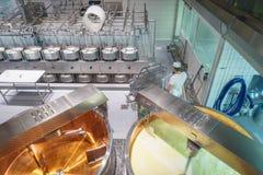 Fabbricazione del formaggio Fotografie Stock Libere da Diritti