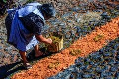 Fabbricazione del tappeto di settimana santa, San Juan del Obispo, Guatemala Fotografie Stock Libere da Diritti