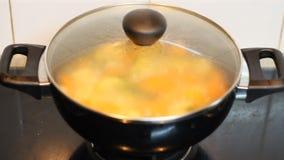 Fabbricazione della minestra di verdura alla cucina stock footage