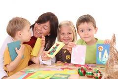 Fabbricazione delle cartoline di Natale Fotografie Stock