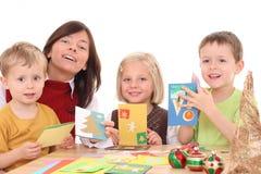 Fabbricazione delle cartoline di Natale Fotografia Stock