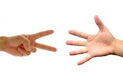 Fabbricazione delle mani: Roccia, documento, forbici Fotografia Stock Libera da Diritti