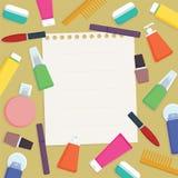 Fabbricazione lista dei prodotti del cosmetico di cura di pelle Illustrazione piana di vettore di stile con lo spazio del testo Immagine Stock Libera da Diritti
