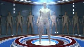Fabbricazione umana del clone e stanza futuristica illustrazione vettoriale
