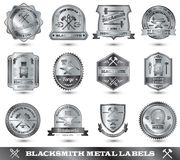 Fabbro Metal Label Fotografie Stock