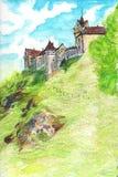 Fabelachtig middeleeuws kasteel in de Tsjechische Republiek Hand-drawn illustratie van kleurpotloden vector illustratie
