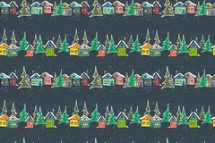 Fabelachtige karamel multicolored huizen op marineblauwe achtergrond vector illustratie
