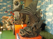 Fabelhafte dolphinlike Fische des Matsuyama-Schlosses Stockbild