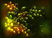 Fabelhafte einfarbige Blumenzusammensetzung in den goldenen Tönen, Vignette auf einem dunklen Hintergrund Abbildung des Vektor EP Lizenzfreie Stockbilder