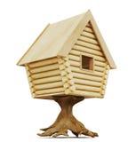 Fabelhafte Hütte auf einem Stumpf lokalisiert auf einem weißen Hintergrund rende 3D lizenzfreie abbildung