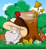 Fabelhafter Pilz des alten Mannes Schlafens der netten Karikatur Lizenzfreies Stockbild