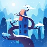 Fabelhaftes Haus mit dem Dach, verflochten mit Baum auf Bergen, Hügelhintergrund Winterwetter, Schneeflocken fliegen, Schnee lieg vektor abbildung