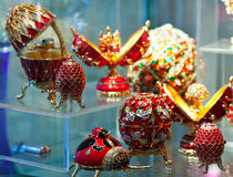 Faberge style Eggs at counter Stock Photo