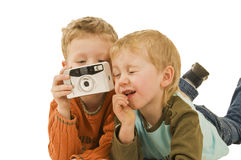 Fabi and Maxi with a camera Royalty Free Stock Image