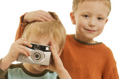 Fabian and Maxi with camera Stock Photo