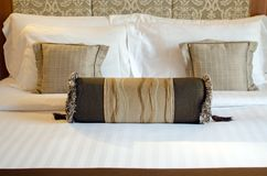 Pillows in bed room Royalty Free Stock Photos