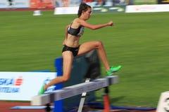 Fabienne Schlumpf - obstáculos de 3000 medidores em Praga Imagem de Stock Royalty Free