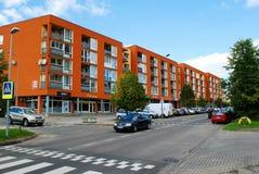 Fabijoniskes新住宅quartier与新房 免版税库存照片