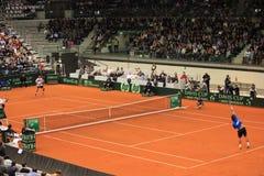 Fabio Fognini εναντίον Dodig Στοκ φωτογραφία με δικαίωμα ελεύθερης χρήσης