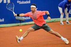 Fabio Fognini (jugador de tenis de Italia) juega en el ATP Barcelona Foto de archivo libre de regalías