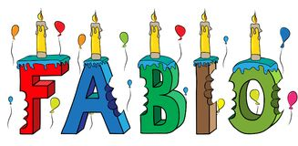 Fabio male first name bitten colorful 3d lettering birthday cake with candles and balloons.  Royalty Free Stock Image