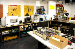 Fablab and 3D Printing. A fab lab (fabrication laboratory) is a small-scale workshop offering (personal) digital fabrication Stock Image
