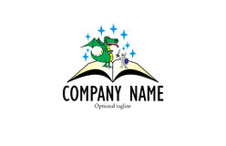 Fable book logo. A logo that consists of an illustration of a dragon and a knight on a pages of a fable book. Good for children book vendors and distributors Royalty Free Stock Photos