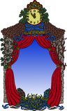 Fable border. Handmade drawing of fable tower with watches royalty free illustration