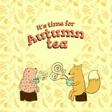 Fable card for autumn tea. With hedgehog and fox royalty free illustration