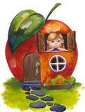 Fable house. House looks like an apple stock illustration