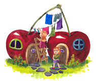 Fable house. House looks like a cherry royalty free illustration