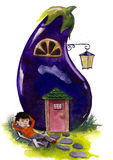 Fable house. House looks like a eggplant royalty free illustration