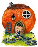 Fable house. House looks like a orange royalty free illustration
