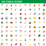 100 fable icons set, cartoon style. 100 fable icons set in cartoon style for any design vector illustration vector illustration