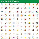 100 fable icons set, cartoon style. 100 fable icons set in cartoon style for any design illustration stock illustration