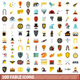 100 fable icons set, flat style. 100 fable icons set in flat style for any design vector illustration Stock Photos