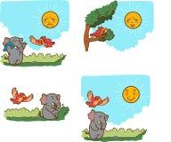 Fable. Illustration of cartoon animals and a sun stock illustration