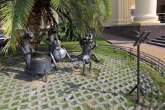 The fables of the Russian writer Ivan Krylov in the city of Sochi. Sochi, RUSSIA-AUGUST 17, 2013: Sculptural composition based on Krylov`s fable Quartet stock images