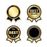 Faborek nagradza bestselleru set Złociste tasiemkowe nagród ikony odizolowywali białego tło Bestseller etykietek sprzedaży złota  ilustracja wektor