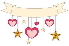 Faborek, serca i gwiazdy na kolorowym plakacie, Fotografia Stock